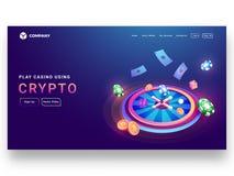 Conception isométrique de crypto concept de casino de roue de roulette avec des Di illustration libre de droits