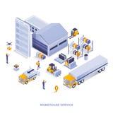 Conception isométrique moderne d'illustration de couleur plate - entreposez le service illustration libre de droits