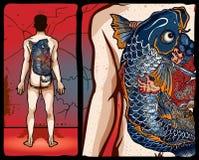 Conception japonaise de tatouage Images libres de droits