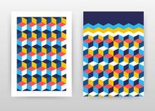 Conception jaune rouge de fond d'affaires de cube pour le rapport annuel, brochure, insecte, affiche Abrégé sur isométrique color illustration de vecteur