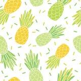 Conception jaune verte de modèle de répétition d'ananas Photographie stock