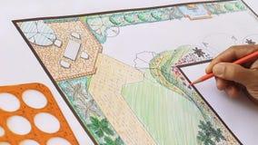 Conception L plan d'architecte paysagiste de jardin de forme clips vidéos