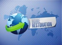 conception à la maison d'illustration de signe de globe de restauration Photo stock