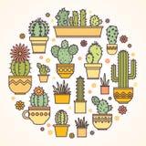 Conception linéaire, cactus mis en pot éléments d'un logo d'entreprise Photographie stock libre de droits