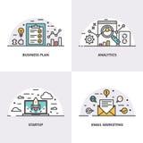 Conception linéaire de vecteur Concepts et icônes pour le marketing de plan d'action, d'analytics, de démarrage et d'email Images libres de droits