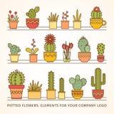 Conception linéaire réglée de grand vecteur, fleurs mises en pot éléments d'un logo d'entreprise Image libre de droits