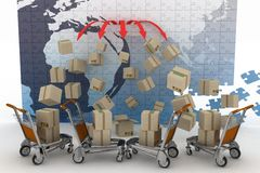 Conception of logistic is in world trade Stock Images