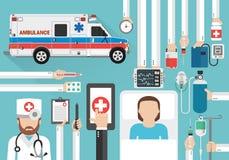 Conception médicale d'appel en ligne plate avec la voiture de docteur, de patient et d'ambulance illustration libre de droits