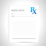 Conception médicale d'illustration de prescription Images libres de droits
