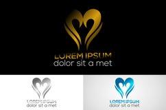 Conception métallique de calibre de logo d'amour d'or photographie stock