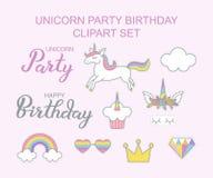 Conception magique réglée de clipart d'Unicorn Party Birthday illustration de vecteur