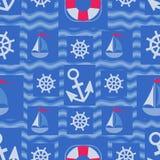 Conception marine d'éléments sur les vagues bleues illustration libre de droits