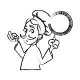 Conception masculine d'isolement de bande dessinée de chef Photos stock