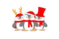 Conception mignonne d'illustration de costume de Noël d'usage de famille de pingouins sur le fond blanc photos libres de droits