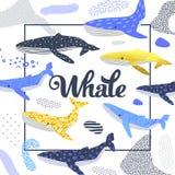 Conception mignonne de baleines Marine Background puérile avec les éléments abstraits Griffonnage à main levée de bébé pour des c Illustration Stock