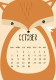 Conception mignonne de calendrier de mois pendant 2018 années octobre Format A4 Vecteur Images stock