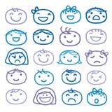 Conception mignonne de vecteur de bande dessinée d'icône de sentiment d'émotion d'aspiration d'enfants de visage illustration stock