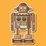 Conception mignonne en bois de vecteur de robot Photographie stock libre de droits