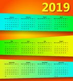 conception minimale du calendrier 2019 abstrait coloré illustration libre de droits