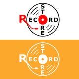 Conception minimaliste plate de logo de magasin record avec l'aiguille de phonographe et un disque illustration de vecteur