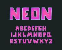 Conception moderne d'alphabet, forme carrée Néon de Word Lettres anglaises majuscules Clipart (images graphiques) audacieux de po photographie stock libre de droits