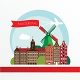 Conception moderne d'horizon de ville d'Amsterdam netherlands Images stock