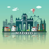 Conception moderne d'horizon de ville de Madrid l'espagne illustration stock