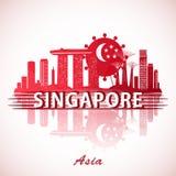 Conception moderne d'horizon de ville de Singapour avec le drapeau national illustration stock