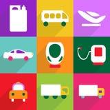 Conception moderne d'icônes de Web pour le transport réglé d'icône mobile d'ombre Image stock