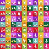 Conception moderne d'icônes de Web pour le transport réglé d'icône mobile d'ombre Images libres de droits