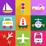 Conception moderne d'icônes de Web pour le transport réglé d'icône mobile d'ombre Photo stock