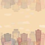 Conception moderne de bâtiments d'immobiliers de modèle sans couture Texture urbaine de paysage Image libre de droits