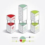 Conception moderne de boîte d'architecture de calibre d'Infographic minimale Image libre de droits