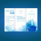Conception moderne de brochure avec le modèle d'aquarelle Photographie stock libre de droits