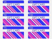 Conception moderne de carte cadeaux avec des rayures Couleurs bleues et roses Les cartes ont coûté dans 25, 50, 75 100, 150, 250  Photographie stock