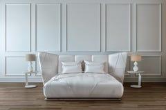 Conception moderne de chambre à coucher intérieure, lit blanc de satin, mur blanc, plancher en bois foncé illustration de vecteur