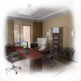 conception moderne de Home Office du wireframe 3d Photos libres de droits