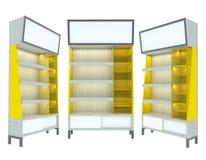 Conception moderne de jaune en bois vide d'étagère Photographie stock libre de droits