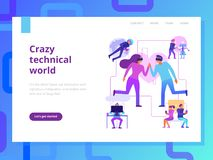 Conception moderne de page de technologies illustration de vecteur