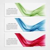 Conception moderne de vague de bannières de collection Fond coloré Photos stock