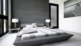 Conception moderne et propre de chambre à coucher images libres de droits