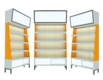 Conception moderne orange d'étagère en bois vide Image stock