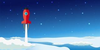 Conception moderne plate de stratosphère Illustration de Rocket Space Photo libre de droits
