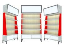 Conception moderne rouge d'étagère en bois vide Photo stock