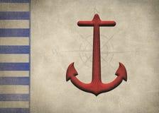 Conception nautique d'ancre rouge et de frontière rayée bleue illustration libre de droits