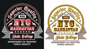 Conception New York, emblème, affiche, vecteur de typographie Images stock