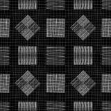 Conception noire et blanche de tableau avec des places et des diamants de griffonnage Modèle sans couture géométrique de vecteur  illustration de vecteur