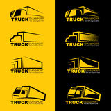Conception noire et jaune de vecteur de logo de transport de camion Photo stock