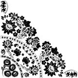 Conception noire triangulaire avec des fleurs Image libre de droits