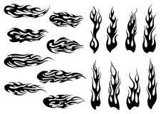 Conception noire tribale de tatouage de flammes du feu Image stock